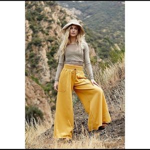 Free People Upbeat Wide Leg Pants. Meadowsweet